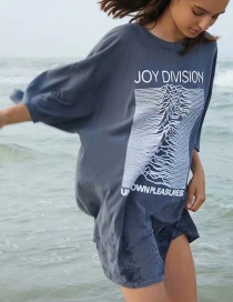Fashion Dark Gray Letter Print Loose Oversized T-shirt