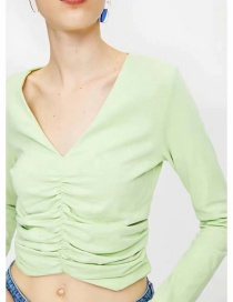 Fashion Green Pleated V-neck Long Sleeve T-shirt