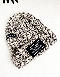 Fashion Creamy-white Knitted Hat Adult Alphabet