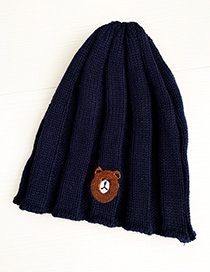 Fashion Navy Knitted Hats Bear