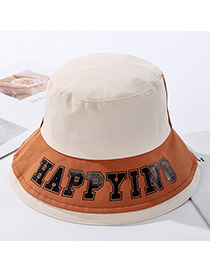 Fashion Beige Contrasting Contrast-print Alphabet Fisherman Hat