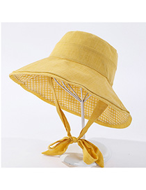 Fashion Yellow Dual-sided Bow Tie Wearing Hat