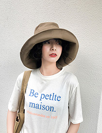 Fashion Khaki Cotton Foldable Large Brimmed Hat
