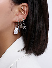 Fashion Platinum Shaped Imitation Pearl Lightning Butterfly Pentagram Ear Clip