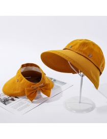 Fashion Yellow Bow Detachable Metal Fisherman Hat