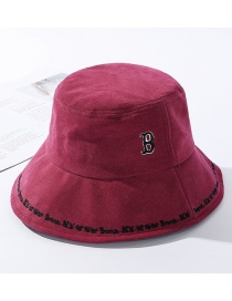Fashion Red Wine Embroidered Alphabet Fisherman Hat