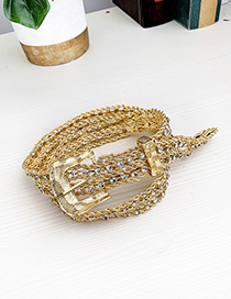 Fashion Golden Alloy Diamond Geometric Belt