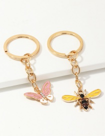 Fashion Pink + Yellow Alloy Painting Oil Bee Butterfly Metal Ring Key Ring