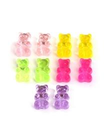 Fashion Color Bear Transparent Resin Earrings Set