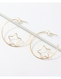 Fashion Golden Openwork Circle Star Pearl C-shaped Earrings