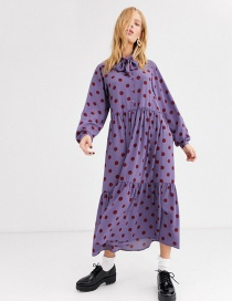 Fashion Purple Polka-dot Printed And Stitched Neckline Long Dress