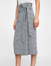 Fashion Black And White Bow Houndstooth Sarong Skirt