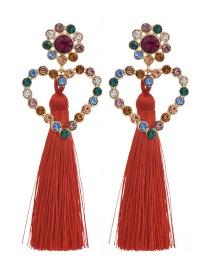 Fashion Red Alloy Rhinestone Love Tassel Earrings