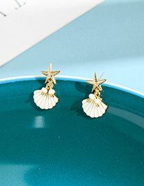 Fashion White Scallop Pentagram Geometric Stud Earrings
