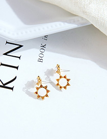 Fashion Golden Hollow Sun Flower Pearl Earrings With Crystals And Diamonds