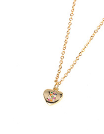 Fashion Golden Love Letter Necklace With Alloy Diamonds
