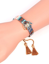 Fashion Khaki Tassel Hand-knitted Micro Zircon Fish-shaped Bracelet