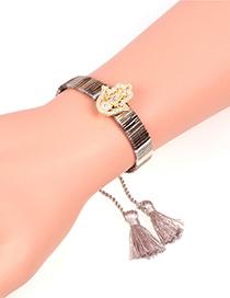 Fashion Khaki Tassel Micro-studded Palm Bracelet