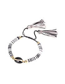 Fashion Black And White Drip Shell Contrast Soft Clay Hand-woven Tassel Bracelet