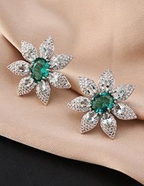Fashion Green Geometric Flower Stud Earrings With Diamonds