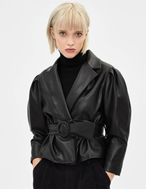 Fashion Black Short Faux Leather Jacket With Belt