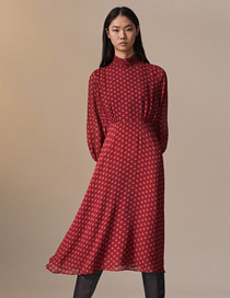 Fashion Red Wave Point Printed Lined Long Dress