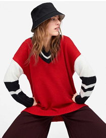 Fashion Red Contrast Stitching Ribbed Sweater