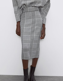 Fashion Houndstooth Knit Houndstooth Straight Skirt
