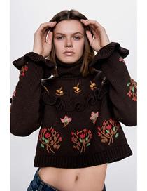 Fashion Brown Jacquard Embroidered Layered Ruffle Sweater