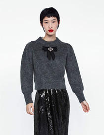 Fashion Gray Bow-embellished Sweater With Diamonds