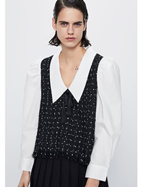 Fashion Black And White Tweed Paneled Contrast V-neck Top