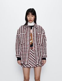 Fashion Red And White Tweed Large Pocket Shirt Coat