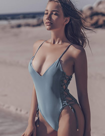 Fashion Blue Adjustable Bandage V-neck Cutout Swimsuit