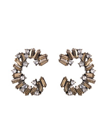 Fashion Golden C-shaped Alloy Stud Earrings With Diamonds