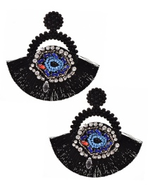 Fashion Black Resin Rice Pearl Rhinestone Eye Round Tassel Stud Earrings
