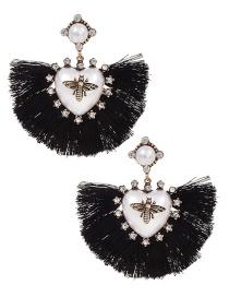 Fashion Black Alloy Pearl Love Bee Short Tassel Stud Earrings