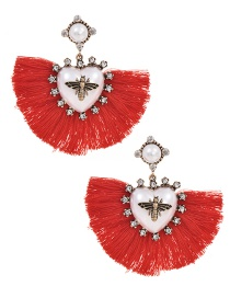 Fashion Red Alloy Pearl Love Bee Short Tassel Stud Earrings