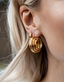 Fashion Golden Gold-plated Ring Earrings