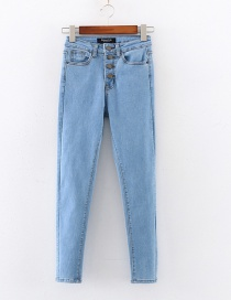 Fashion Light Blue Four-button High-rise Skinny High-stretch Jeans