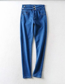 Fashion Blue Washed Buckled Panel Skinny Jeans