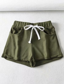 Fashion Green Sports Short Lace-up Rolled Shorts