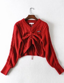 Fashion Crimson V-neck Front Drawstring Pullover Loose Cropped Sweater