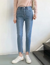 Fashion Denim Blue Ripped Washed Small Jeans