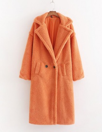Fashion Orange Lamb Wool Single Button Long Coat