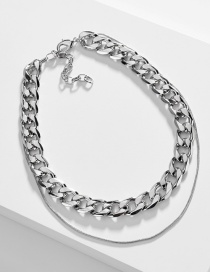 Fashion Platinum Snake Chain Double Chain Single Buckle Necklace