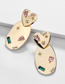 Fashion Golden Love Star Mirror Polished Stud Earrings
