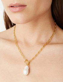 Fashion Golden Natural Shell Pearl Alloy T-button Sweater Necklace