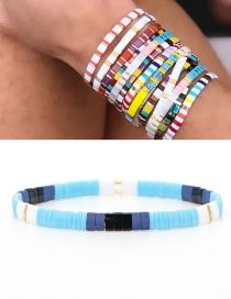 Fashion Blue Woven Beaded Contrast Bracelet
