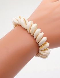 Fashion White Hand-woven Gold Bead Natural Shell Bracelet