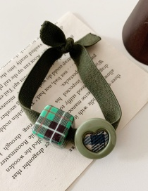 Fashion Green Plaid Love Hand Knotted Hair Rope